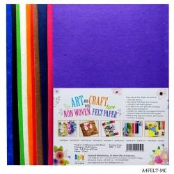 A4 Nonwoven Felt Sheet 10pcs Multi Color
