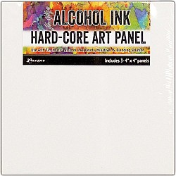 "Tim Holtz Alcohol Ink Hard Core Art Panel 4""X4"" 3/Pkg by Ranger"