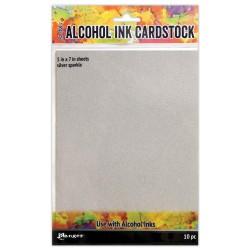 """Tim Holtz Alcohol Ink Cardstock 5""""X7"""" 10/Pkg - Silver Sparkle"""