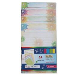 Lotus Designer Colour Sheets - A4 ( One Side Floral) - 20 Sheets