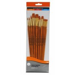Daler-Rowney Simply Gold Taklon Synthetic Long Handled Brush - Set of 10