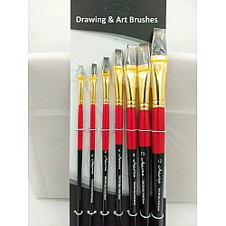 Arora Art Brushes 7 pieces Flat Hog Brushes