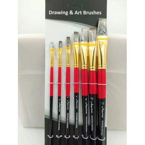 Arora Art Brushes 7 pieces Flat Hog Brushes