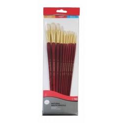 Daler Rowney Simply Bristle White Long Handled Brush Set Of 10