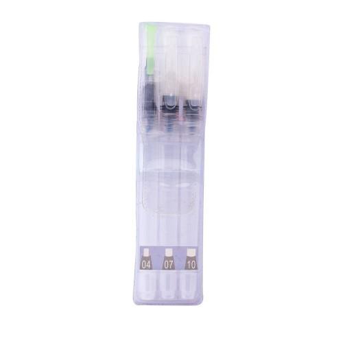 Hakims Flat Water Brush Pen Set of 3 (Long Barrel) - No 04, 07, 10