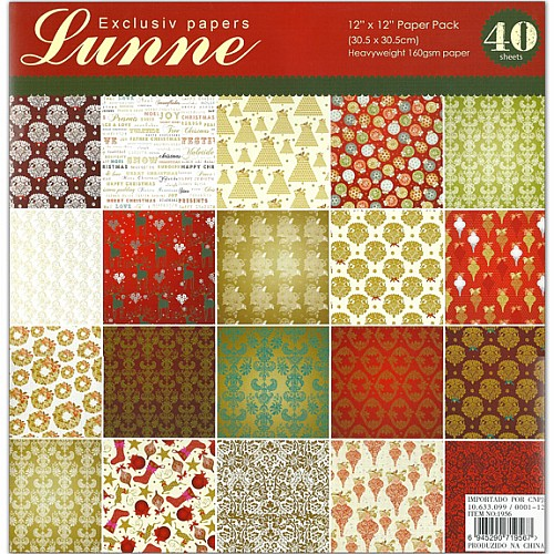 Assorted 12x12 Paper Pack - Lunne (Set of 40 sheets)