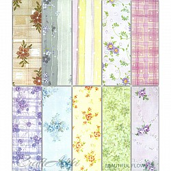 Assorted 12x12 Paper Pack - Beautiful Flowers (Set of 40 sheets)