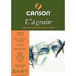 "Canson ""C"" a' grain 180 GSM A3 Pack of 5 Sheets"