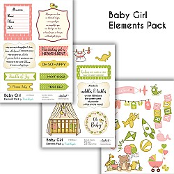 CrafTangles Elements Pack  - Baby Girl (3 sheets of A4)