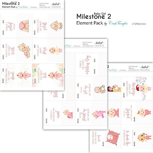 CrafTangles Elements Pack  - Baby Girl Milestone 2 (3 sheets of A4)
