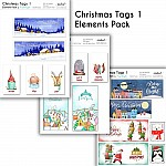 CrafTangles Elements Pack  - Christmas Tags 1 (3 sheets of A4)