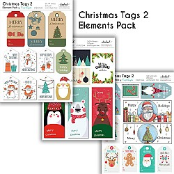 CrafTangles Elements Pack  - Christmas Tags 2 (3 sheets of A4)