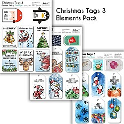 CrafTangles Elements Pack  - Christmas Tags 3 (3 sheets of A4)