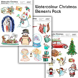 CrafTangles Elements Pack  - Watercolor Christmas (3 sheets of A4)