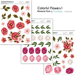CrafTangles Elements Pack  - Colorful Flowers 1 (3 sheets of A4)