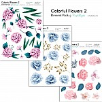 CrafTangles Elements Pack  - Colorful Flowers 2 (3 sheets of A4)