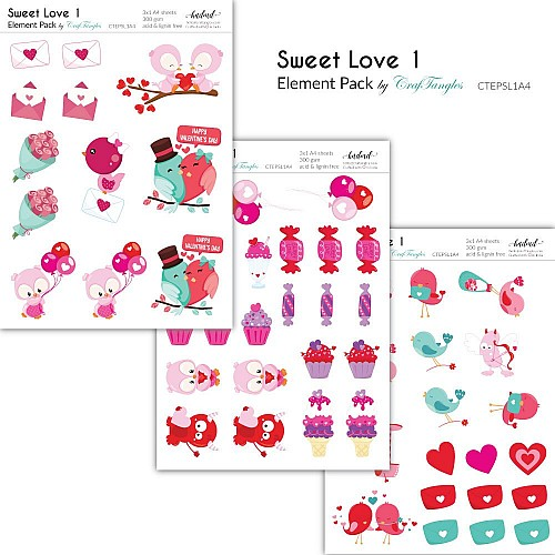 CrafTangles Elements Pack  - Sweet Love 1 (3 sheets of A4)