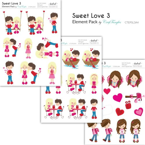 CrafTangles Elements Pack  - Sweet Love 3 (3 sheets of A4)