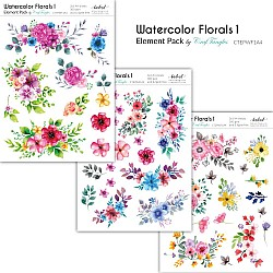 CrafTangles Elements Pack  - Watercolor Florals 1 (3 sheets of A4)