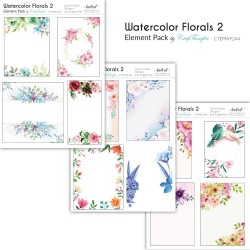 CrafTangles Elements Pack  - Watercolor Florals 2 (3 sheets of A4)