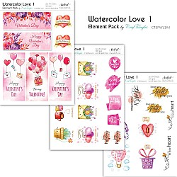 CrafTangles Elements Pack  - Watercolor Love 1 (3 sheets of A4)