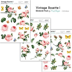 CrafTangles Elements Pack  - Vintage Rosette 1 (3 sheets of A4)