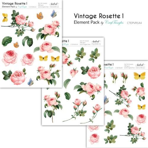 CrafTangles Elements Pack  - Vintage Rosette 1 (3 sheets of A4)
