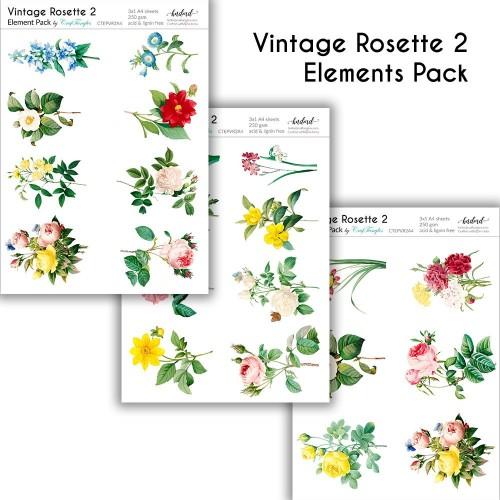 CrafTangles Elements Pack  - Vintage Rosette 2 (3 sheets of A4)