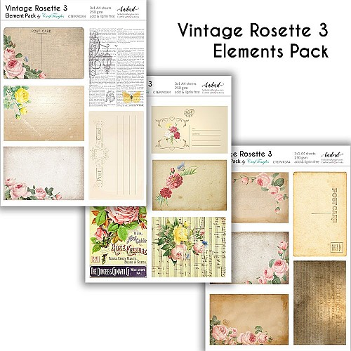 CrafTangles Elements Pack  - Vintage Rosette 3 (3 sheets of A4)