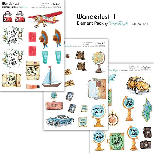 CrafTangles Elements Pack  - Wanderlust 1 (3 sheets of A4)