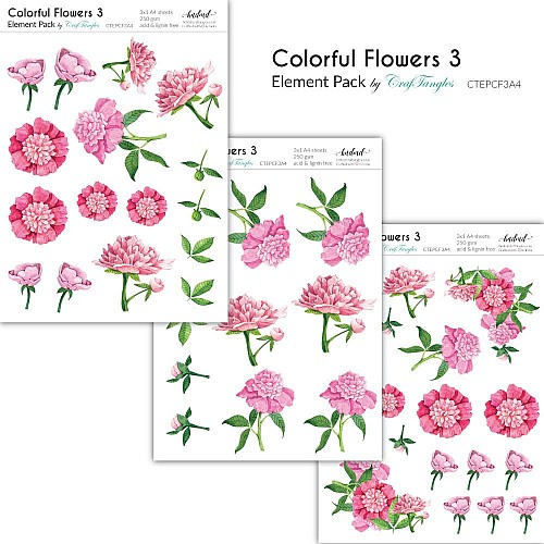 CrafTangles Elements Pack  - Colorful Flowers 3 (3 sheets of A4)