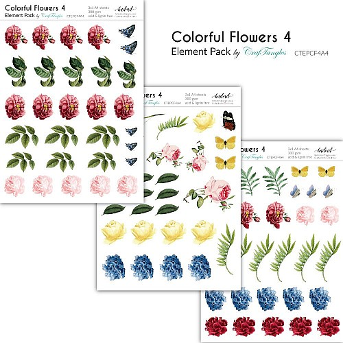CrafTangles Elements Pack  - Colorful Flowers 4 (3 sheets of A4)