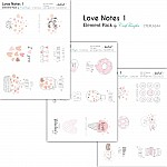 CrafTangles Elements Pack  - Love Notes 1 (3 sheets of A4)