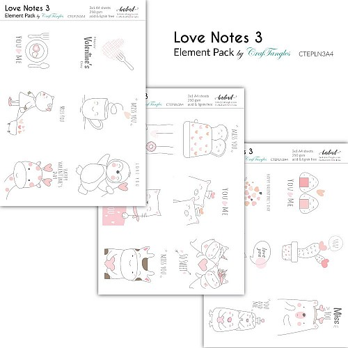 CrafTangles Elements Pack  - Love Notes 3 (3 sheets of A4)