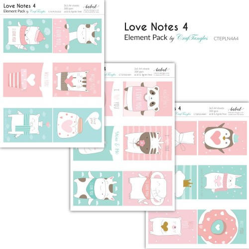 CrafTangles Elements Pack  - Love Notes 4 (3 sheets of A4)