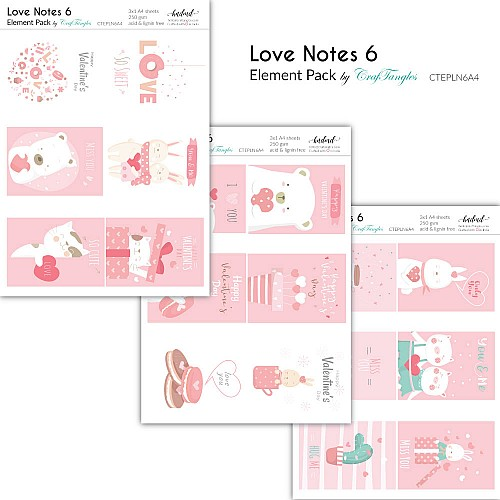 CrafTangles Elements Pack  - Love Notes 6 (3 sheets of A4)