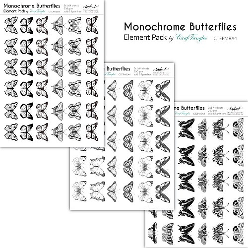 CrafTangles Elements Pack  - Monochrome Butterflies (3 sheets of A4)