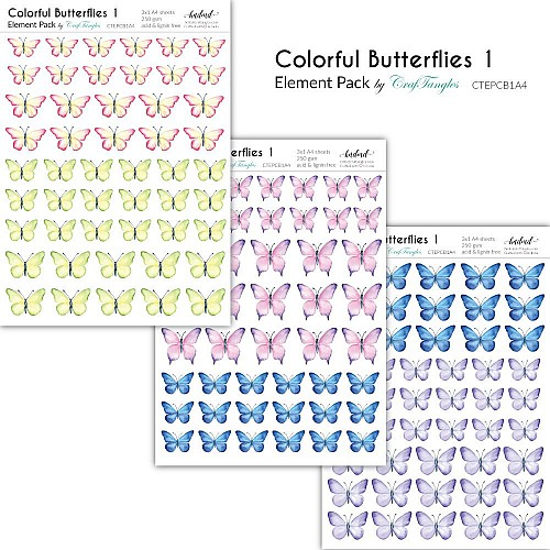 CrafTangles Elements Pack  - Colorful Butterflies 1 (3 sheets of A4)