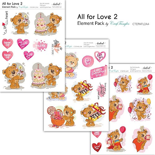 CrafTangles Elements Pack  - All for Love 2 (3 sheets of A4)