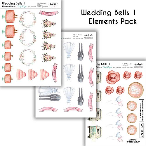 CrafTangles Elements Pack  - Wedding Bells 1 (3 sheets of A4)