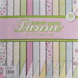 Assorted 12x12 Lunne Double sided  Paper Pack - Pastel Collection (Set of 30 sheets)