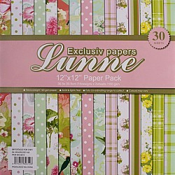Assorted 12x12 Lunne Paper Pack - Tropical Flowers (Set of 30 sheets)