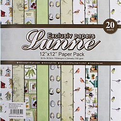 Assorted 12x12 Lunne Paper Pack - Little Birdie (Set of 20 sheets)