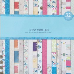 Assorted 12 by 12 Paper Pack - Brights (Set of 32 sheets)