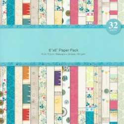 Assorted 6 by 6 Paper Pack - Brights (Set of 32 sheets)