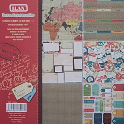 Ilan 12 by 12 Paper Pack - World Travel (Set of 6 sheets)