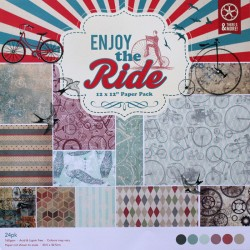 12 by 12 Patterned Paper Pack - Enjoy the Ride (Set of 24 sheets)