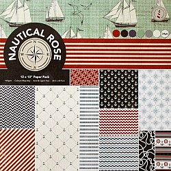 12 by 12 Patterned Paper Pack - Nautical Rose (Set of 24 sheets)
