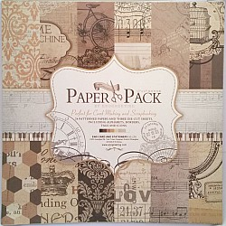 12x12 EnoGreeting Scrapbook paper pack - Retro Style (Set of 24 sheets and 3 die cut sheets)