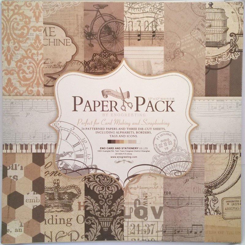 Buy 12x12 Enogreeting Scrapbook Paper Pack Retro Style